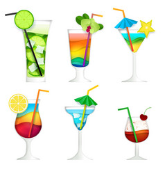 Paper cut cocktail summer drink icon set vector