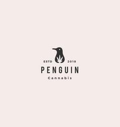 penguin cannabis cbd oil hemp leaf logo hipster vector image