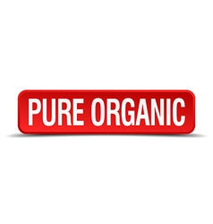 Pure organic red 3d square button isolated on vector