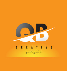 Qb q b letter modern logo design with yellow vector