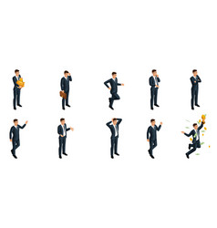 quality isometrics a set of 3d business man vector image