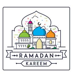 Ramadan kareem with simple modern mosque vector