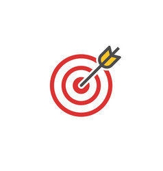 Red aim icon target and arrow concept perfect vector