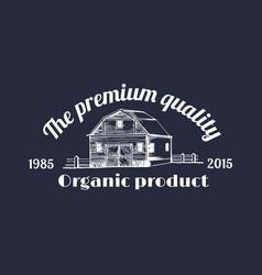 Retro farm logotype organic premium vector