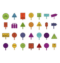 road sign icon set color outline style vector image
