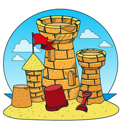 Sand castle on the beach color of a summer theme vector