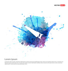 saw icon - watercolor background vector image