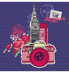 Scrapbook Design Elements - London Vintage Card vector