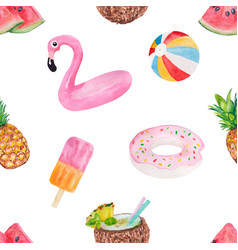 seamless pattern with cute summer vacation objects vector image
