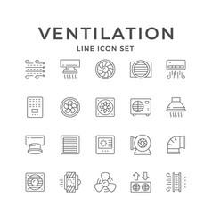 set line icons ventilation vector image