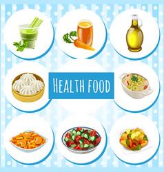 Set useful organic natural food attribute of vector