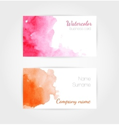 set watercolor business cards template vector image