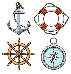 Set with isolated anchor lifebuoy ships vector