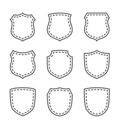 shield shape icons set black silhouette signs vector image