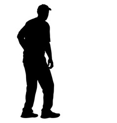 silhouette of people standing on white background vector image