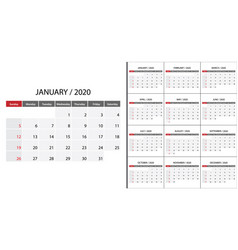 simple calendar 2020 vector image