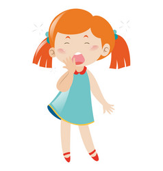 Sleepy girl yawning on white background vector