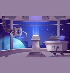 Spaceship control center captain cabin interior vector