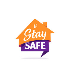 stay safe sticker self isolation flat icon vector image
