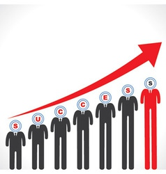 Success graph with businessmans face vector image