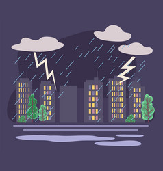 Thunderstorm and rain in city rainfall in town vector