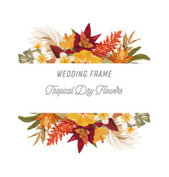 tropical floral frame with palm leaves tropic vector image