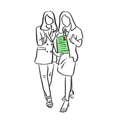 two businesswomen holding green diploma vector image