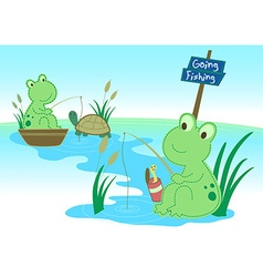Two frogs fishing in a pond vector image