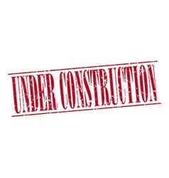 Under construction red grunge vintage stamp vector