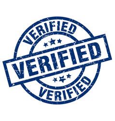 verified blue round grunge stamp vector image