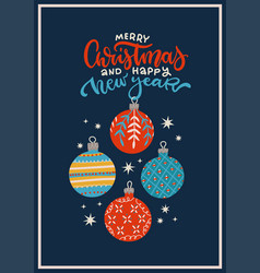 vintage christmas greeting card with baubles vector image