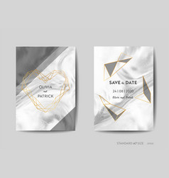 Wedding invitation cards save the date marble vector