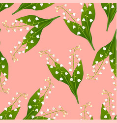 White lily of the valley on pink background vector