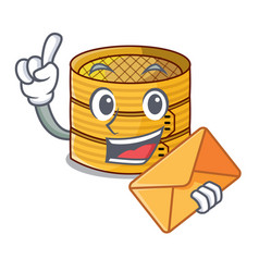 With envelope cartoon traditional bamboo for vector