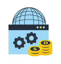 world website coins bitcoin dollar money fintech vector image