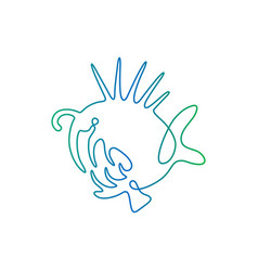 continuous line drawing fish fish logo vector image vector image