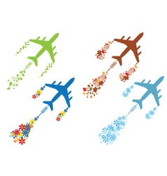 four seasons and airoplane vector image vector image
