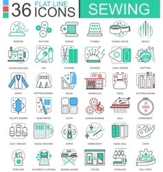 Sewing flat line outline icons for apps and vector image