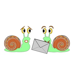 Two funny cartoon snails with a letter vector image