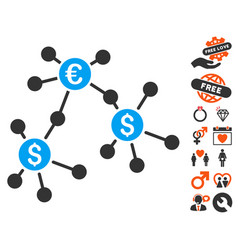 financial networks icon with dating bonus vector image vector image