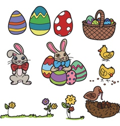 easter elements hand drawn vector image