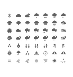 Gray silhouette weather icons set vector image