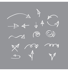 Hand drawn arrow collection on gray background vector image vector image