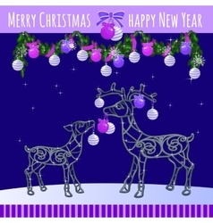 Reindeer family with Christmas balls and garland vector image