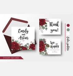 wedding invite thank you floral cards set vector image