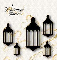 Arabic lamps fanoos for ramadan kareem islamic vector