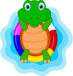 green turtle cartoon relaxing vector image