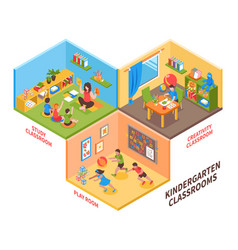 Kindergarten indoor isometric vector
