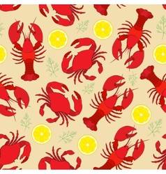 Lobster and crab with lemon and dill vector image vector image