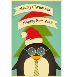 Merry Christmas Greeting Card with Cute Penguin vector image